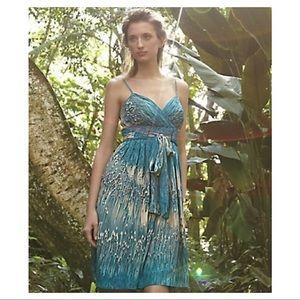 Anthropologie/Lil- Caballo Falls Teal Silk Dress